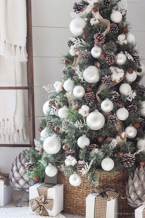 Mẫu cây thông này trang trí cũng khá đơn giản và không cầu kỳ bạn chỉ cần mua vài túi quả thông, quả châu là có thể tạo ra 1 cây thông Noel tuyệt đẹp rồi