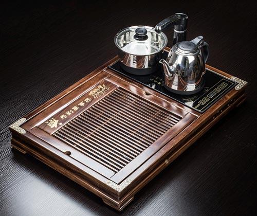Mẫu khay trà gỗ Mun - Mã KTG04 với chất liệu gỗ đẹp, vân gỗ rõ ràng, đều, trọng lượng 7Kg
