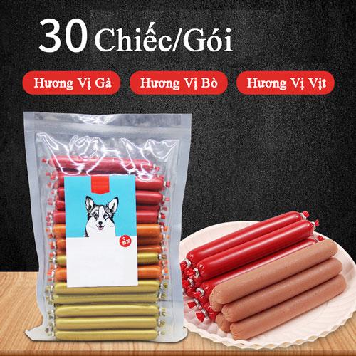 Gói 30 Cây Xúc Xích Cho Chó Mèo Đủ 3 Vị Gà, Bò, Vịt – Mã TACCM85