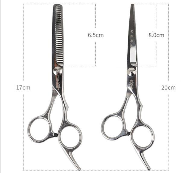 Hình ảnh kích thước bộ kéo cắt tỉa lông cho mèo mã GTLKK38 & GTLKK39