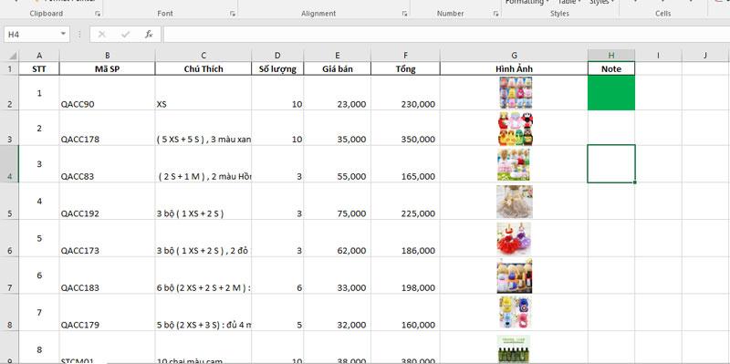 Khách hàng sử dụng Excel thành thạo có thể lên đơn hàng như hình ảnh qua file Excel rồi gửi lại shop