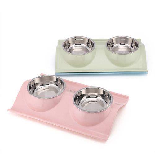 Bát ăn đôi chống lật cho chó mèo được thiết kế sang trọng, màu sắc đẹp
